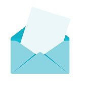 Blue envelope with letter, document. Sending mail correspondence. Flat vector cartoon illustration. Objects isolated on a white background.