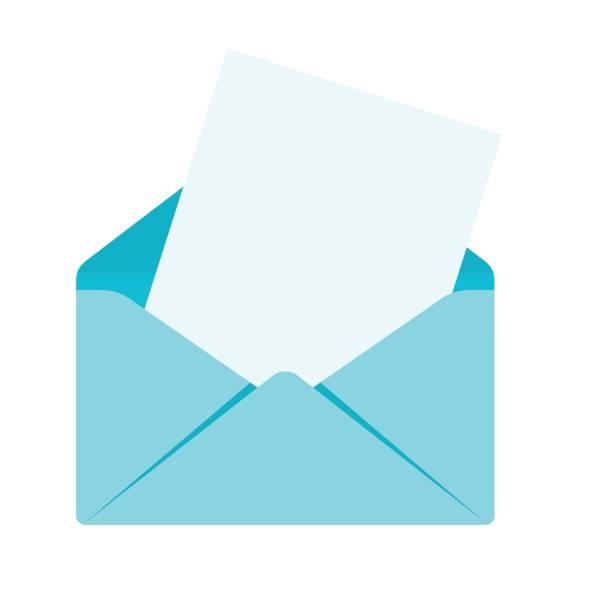 Umschlag mit Blatt – Vektorgrafik