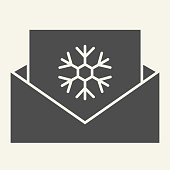 Envelope with snowflake solid icon. Christmas and New Year greeting letter glyph style pictogram on white background. Letter to Santa for mobile concept and web design. Vector graphics
