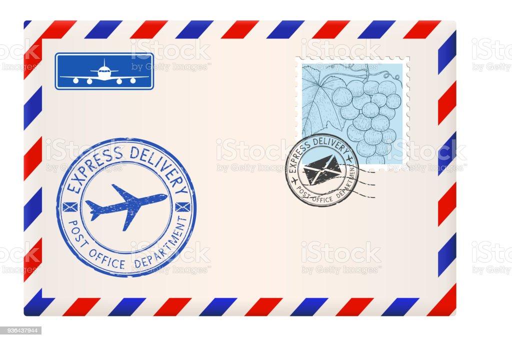8b5fcbd3736a96 Vetores de Envelope Com Selos E Carimbos Correspondência De Correio  Internacional e mais imagens de Avião
