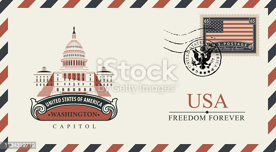 Vector postcard or envelope with famous Washington Capitol building and inscriptions. Postcard with postmark in form of coat of arms and postage stamp with flag of USA