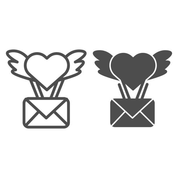 stockillustraties, clipart, cartoons en iconen met envelop met vleugels en hartlijn en stevig pictogram. de illustratie van de envelop van de envelop van de dag van de valentijnskaart die op wit wordt geïsoleerd. vliegende envelop met hart en vleugels schetsen stijl ontwerp, ontworpen voor web en app. eps - flirten