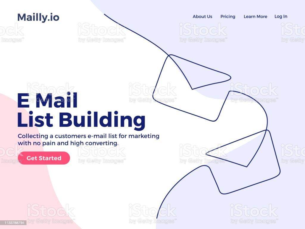 Envelopes E Mail List Building Illustration Continuous One Line Art