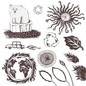 """Vector file of the hand drawn pieces: polar bear, recycling symbol, earth, sun, """"green"""" car, leaf, fire flames and flower."""