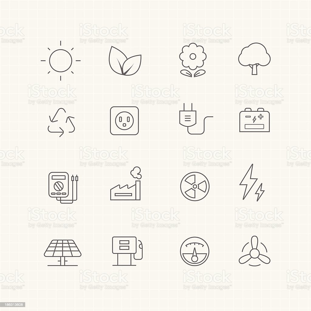 environment and power vector thin line symbol icon vector art illustration