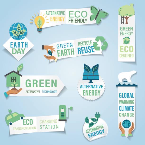 Environment Banner Sticker vector art illustration