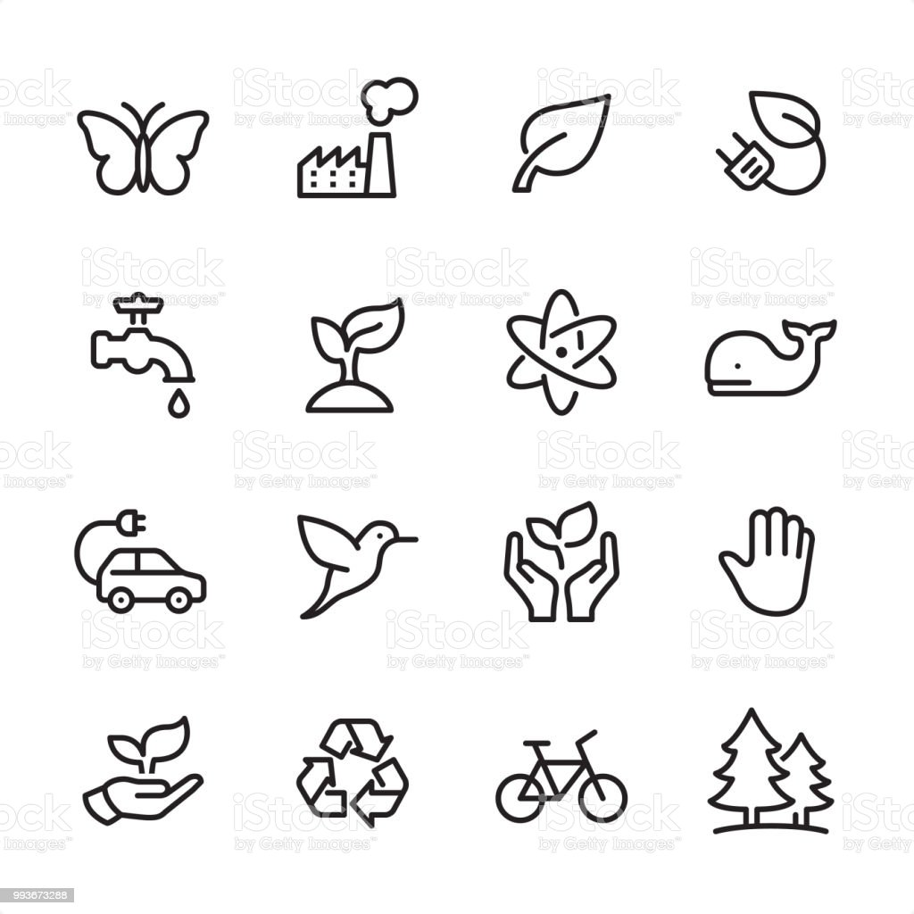 Environment Conservation - outline icon set