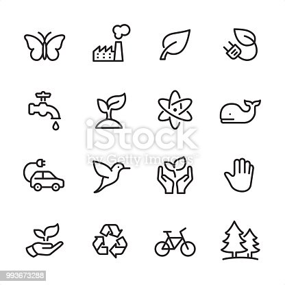 16 line black on white icons / Set #57 Environmental Conservation / Pixel Perfect Principle - all the icons are designed in 48x48pх square, outline stroke 2px.  First row of outline icons contains:  Butterfly-Insect, Factory icon (Air Pollution), Leaf, Electric Plug and Leaf;  Second row contains:  Faucet icon, Growth Plant, Atomic Structure, Whale;  Third row contains:  Electric Car, Hummingbird, Nature Care, Stop Gesture Sign;   Fourth row contains:  Leaf in Human Hand, Recycling Symbol, Bicycle, Pine Forest.  Complete Inlinico collection - https://www.istockphoto.com/collaboration/boards/2MS6Qck-_UuiVTh288h3fQ
