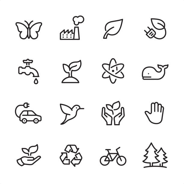 environment conservation - outline icon set - butterfly stock illustrations