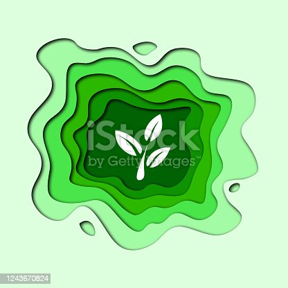environment day green leaf cutout illustration  art design logo paper cutout design