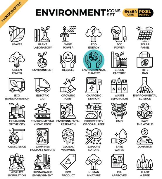 Environment & eco concept detailed line icons vector art illustration