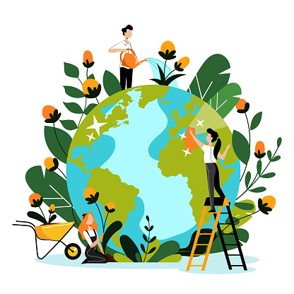 Environment, ecology, nature protection concept. People take care of Earth planet. Vector flat cartoon illustration.
