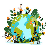 Environment, ecology, nature protection concept. Young volunteers take care of Earth planet and environmental nature. Vector flat cartoon illustration. People cleaning, watering and planting flowers.