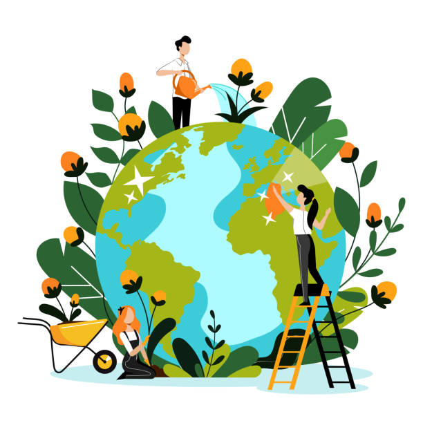 Environment, ecology, nature protection concept. People take care of Earth planet. Vector flat cartoon illustration. Environment, ecology, nature protection concept. Young volunteers take care of Earth planet and environmental nature. Vector flat cartoon illustration. People cleaning, watering and planting flowers. earth day stock illustrations