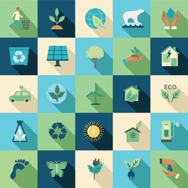 Environment Flat Design Icon Set vector art illustration