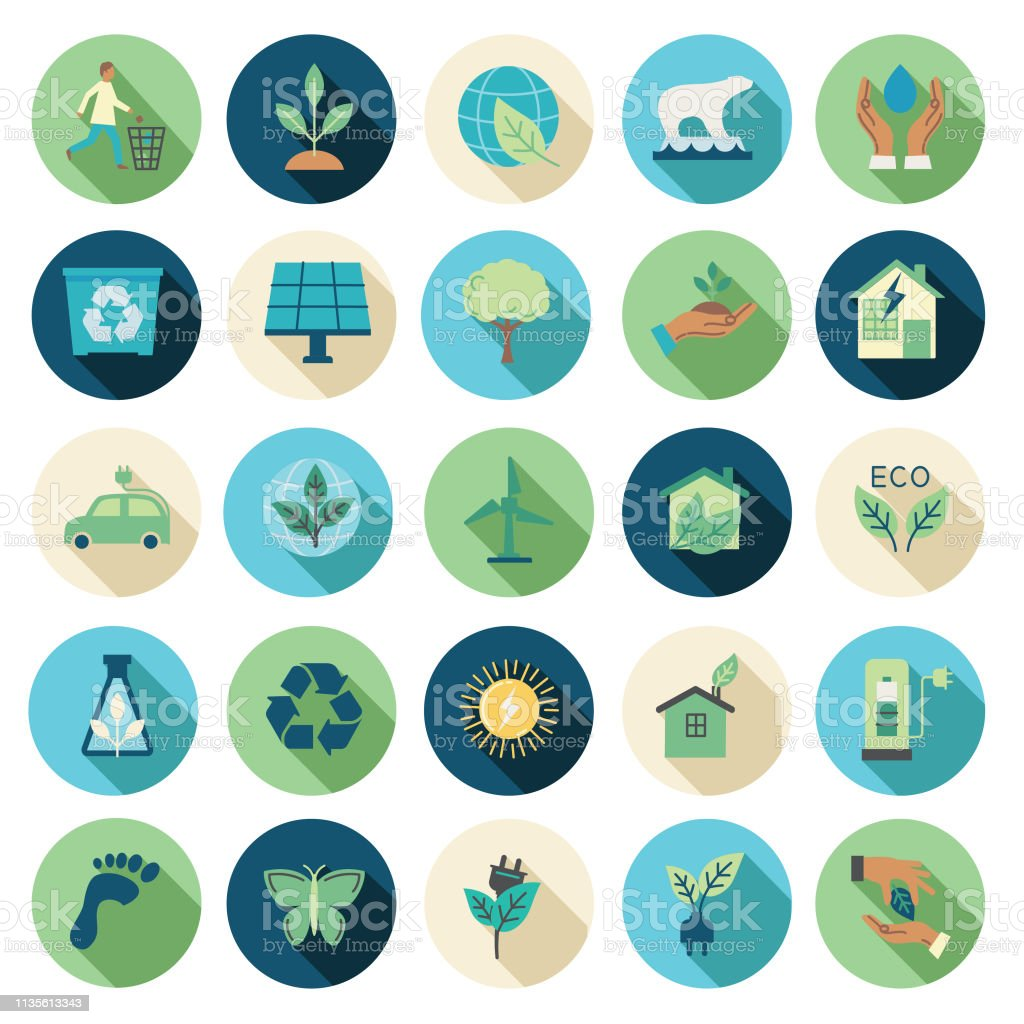 Environment Flat Design Icon Set Environment Icon in thin line flat design style set. Bicycle stock vector