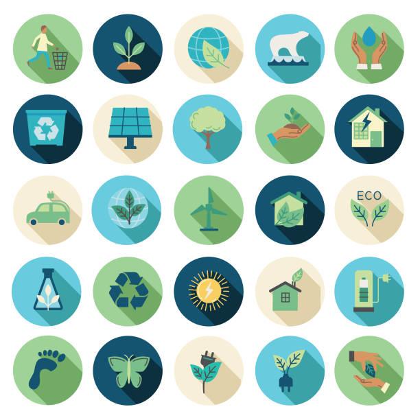 illustrazioni stock, clip art, cartoni animati e icone di tendenza di environment flat design icon set - sustainability icons