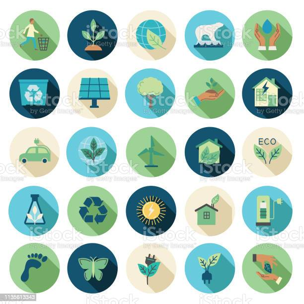 Environment Flat Design Icon Set Stock Illustration - Download Image Now