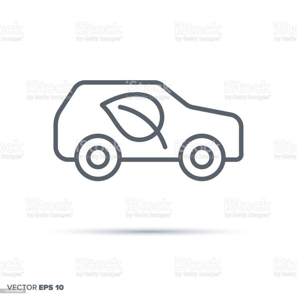 Environment friendly car. Green transportation vector line icon. vector art illustration