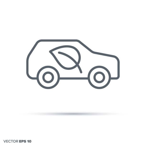 Environment friendly car. Green transportation vector line icon. Environment friendly car vector line icon.. Green transportation symbol. hybrid car stock illustrations