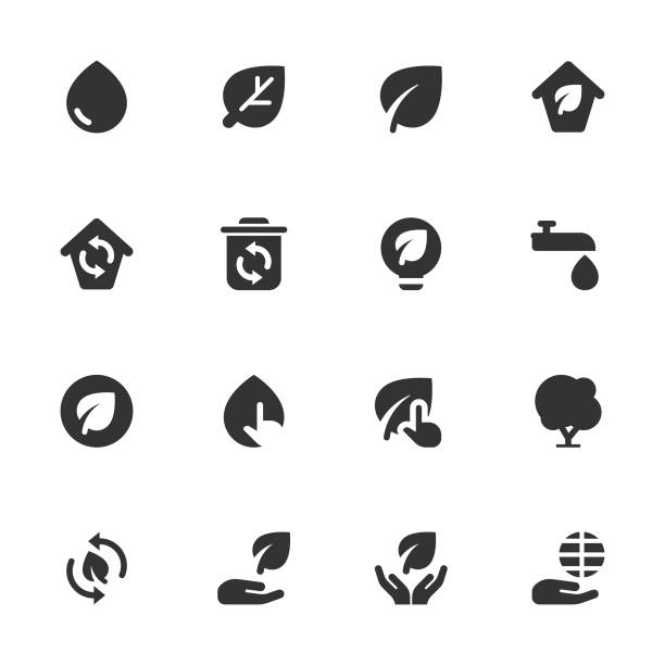 environment icon set - dark solid series - sustainability icons stock illustrations