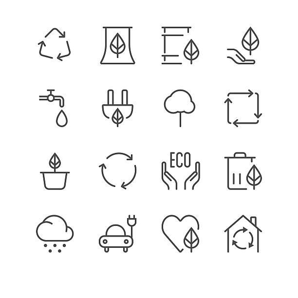 bildbanksillustrationer, clip art samt tecknat material och ikoner med environment icons set 1 | black line series - recycling heart