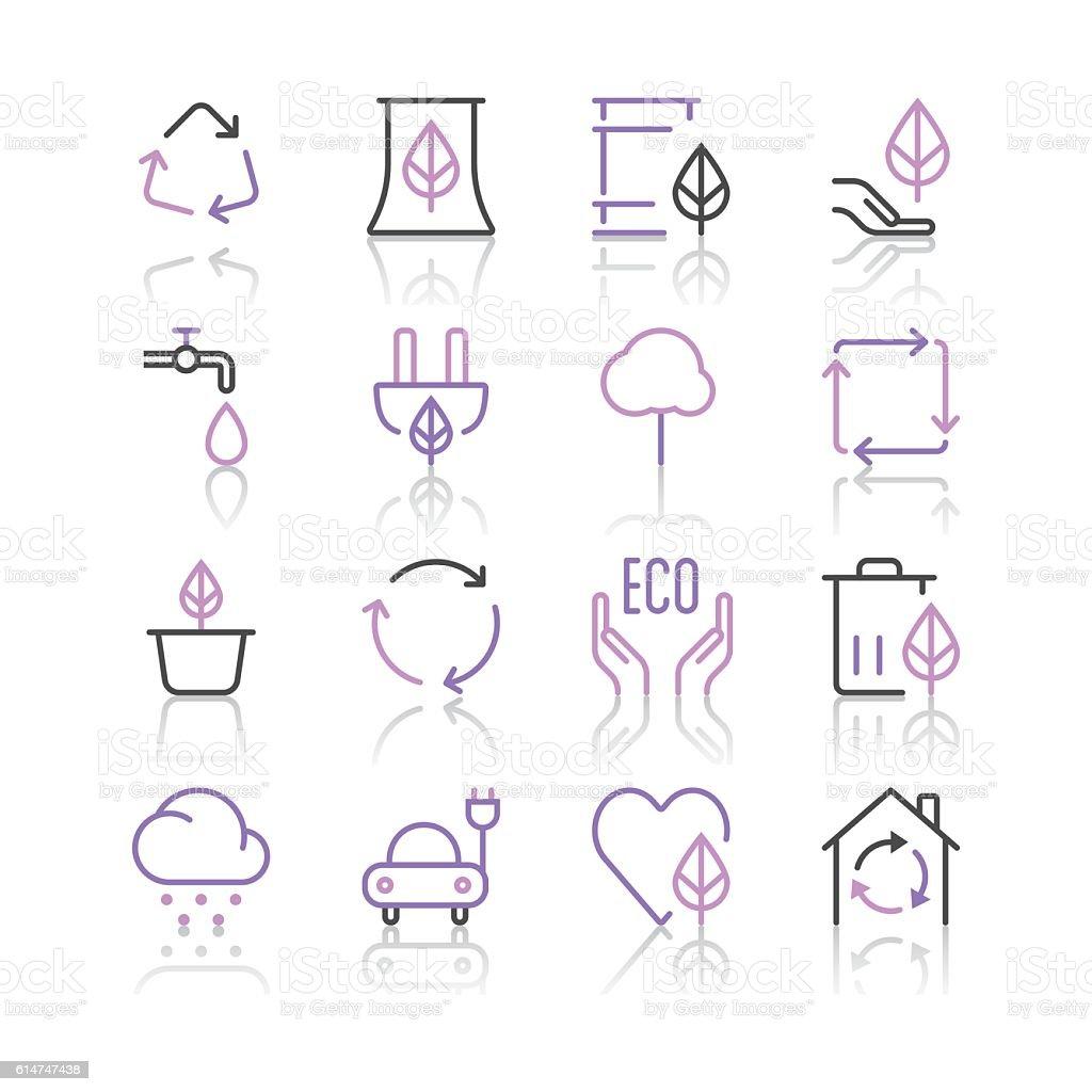 Environment Icons set 1 | Purple Line series vector art illustration