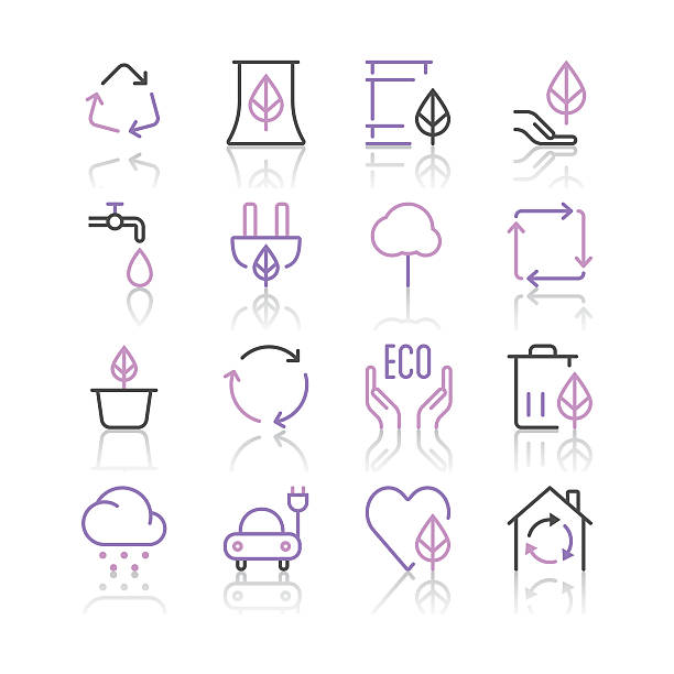 environment icons set 1   purple line series - electrical wiring home stock illustrations, clip art, cartoons, & icons