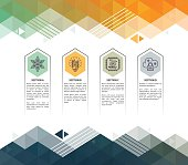 Four step environment infographic on colourful, abstract, triangle geometric background.