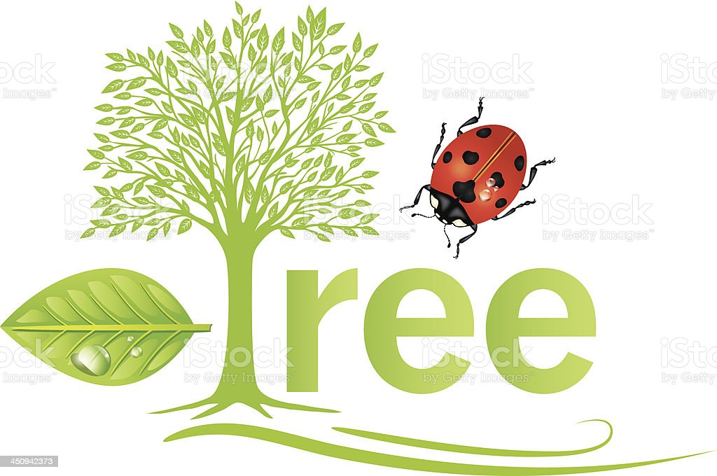 Environment Leaf Tree & Ladybug royalty-free stock vector art