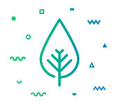 Environment outline style icon design with decorations and gradient color. Line vector icon illustration for modern infographics, mobile and web designs.