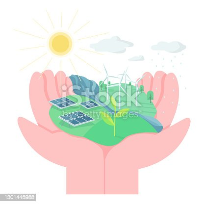 istock Environment protection flat concept vector illustration. Hands holding land with solar panels and wind turbines. Eco friendly living 2D cartoon element for web design. Use alternative energy creative 1301445988