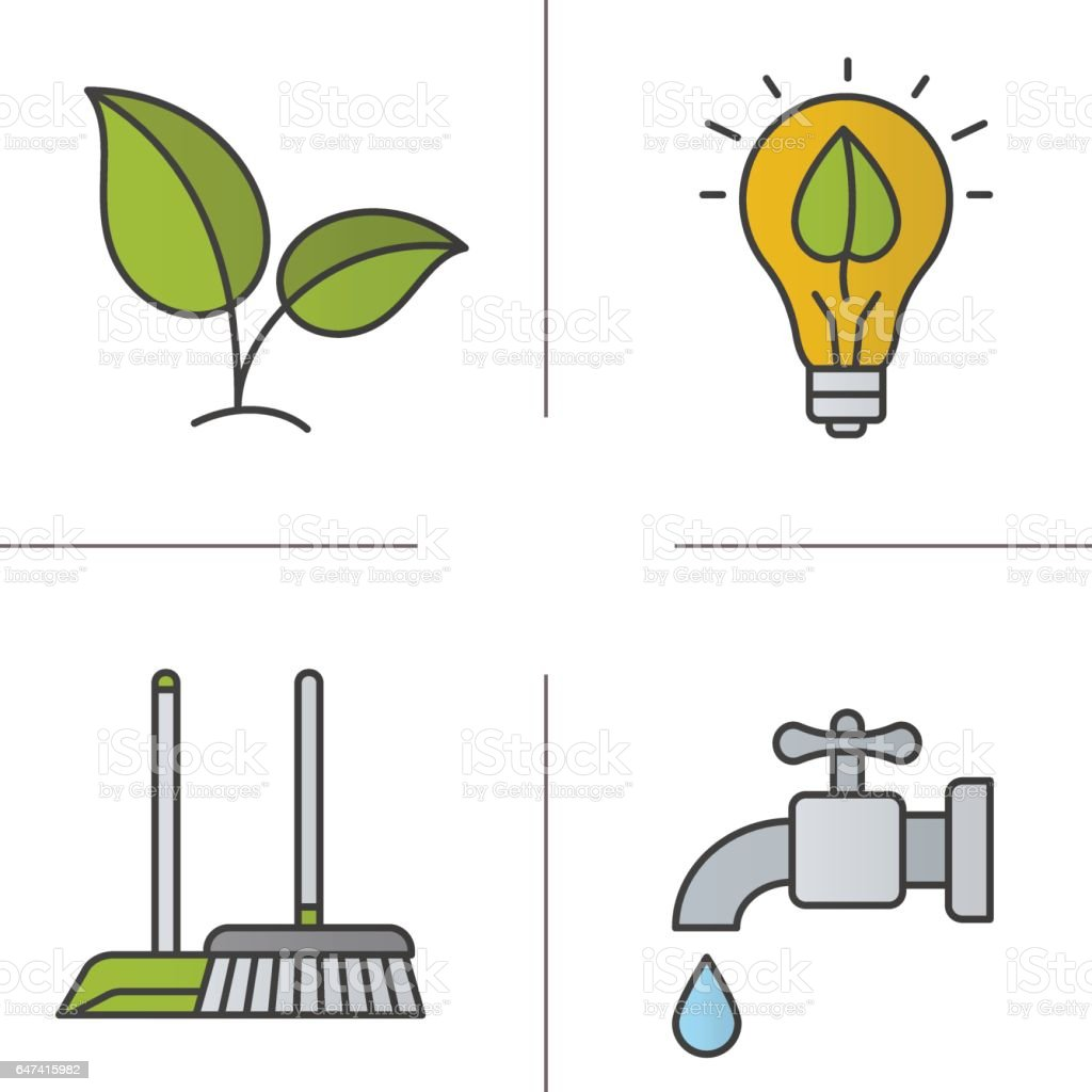 Environment protection icons vector art illustration