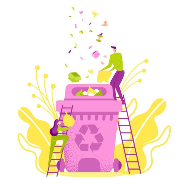 bildbanksillustrationer, clip art samt tecknat material och ikoner med miljö skydd, återvinna, återanvända, minska. - food waste