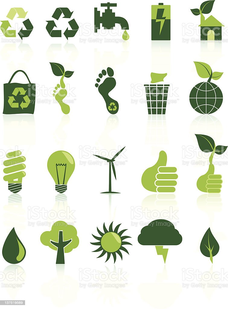 Environment Recycle Icon Set vector art illustration