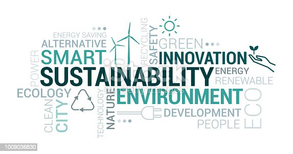 Environment, smart cities and sustainability tag cloud with icons and concepts