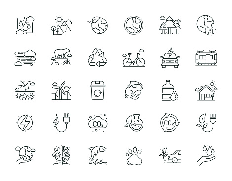 Environment Thin Line Icon Set Series
