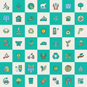 Environment Icon in thin line flat design style set.