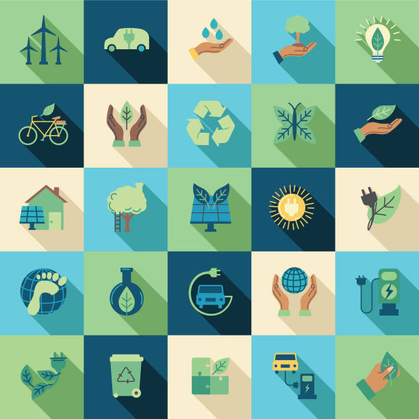 environment thin line icon set - sustainability icons stock illustrations