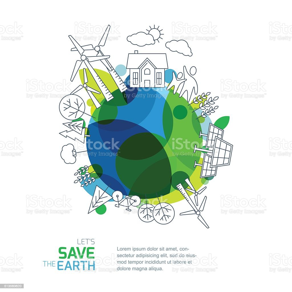 Environmental and ecology vector illustration. vector art illustration