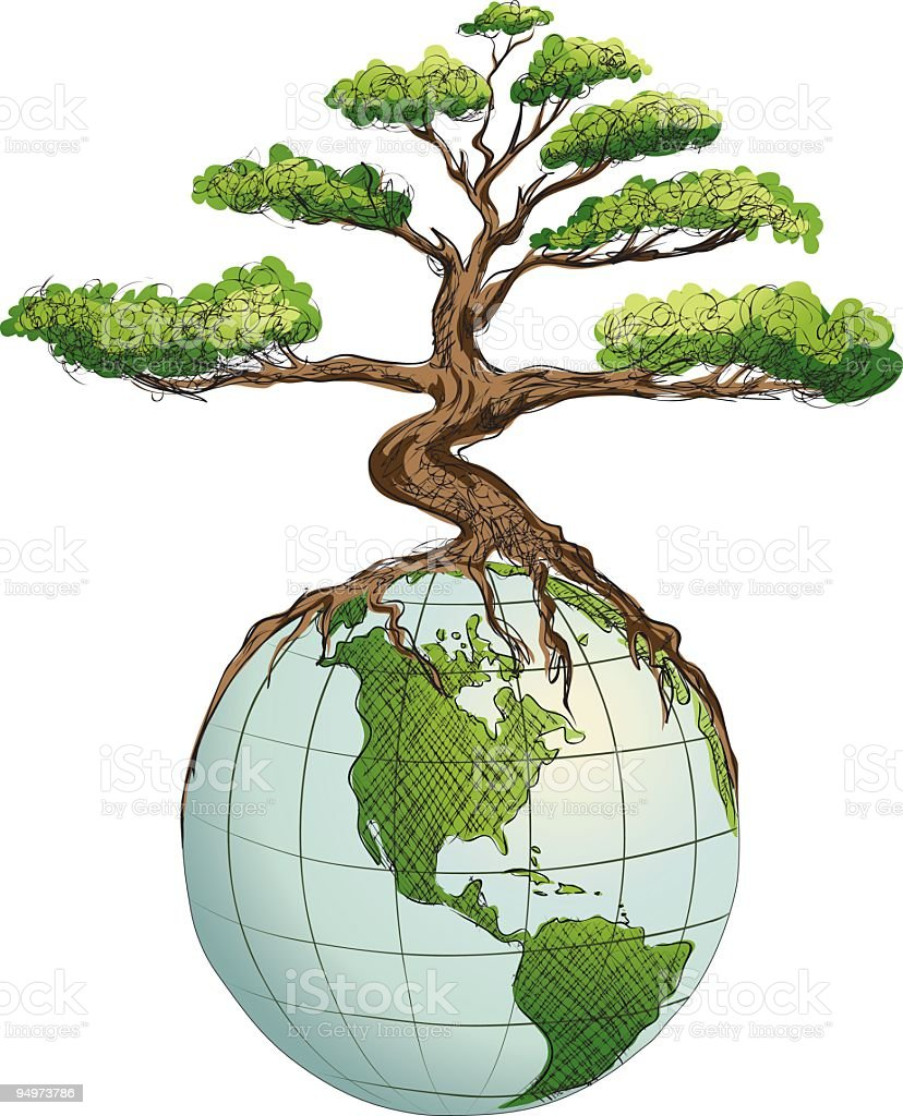 Environmental Awareness - Bonsai Tree Growing on Top of Globe royalty-free stock vector art