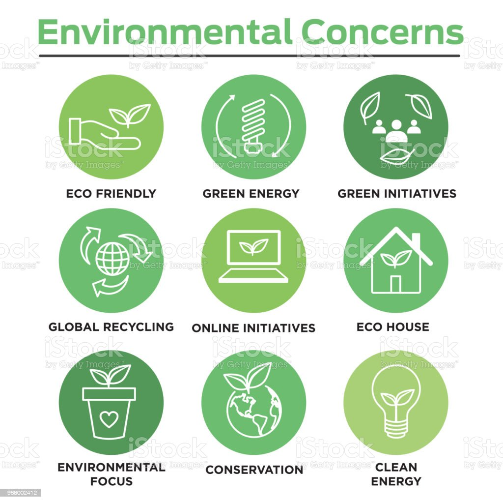 Environmental concerns icon set with lightbulb, hand holding leaf, recycling, etc