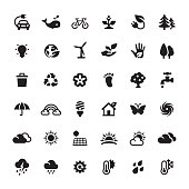 Environmental Conservation and Alternative Energy related symbols and icons.