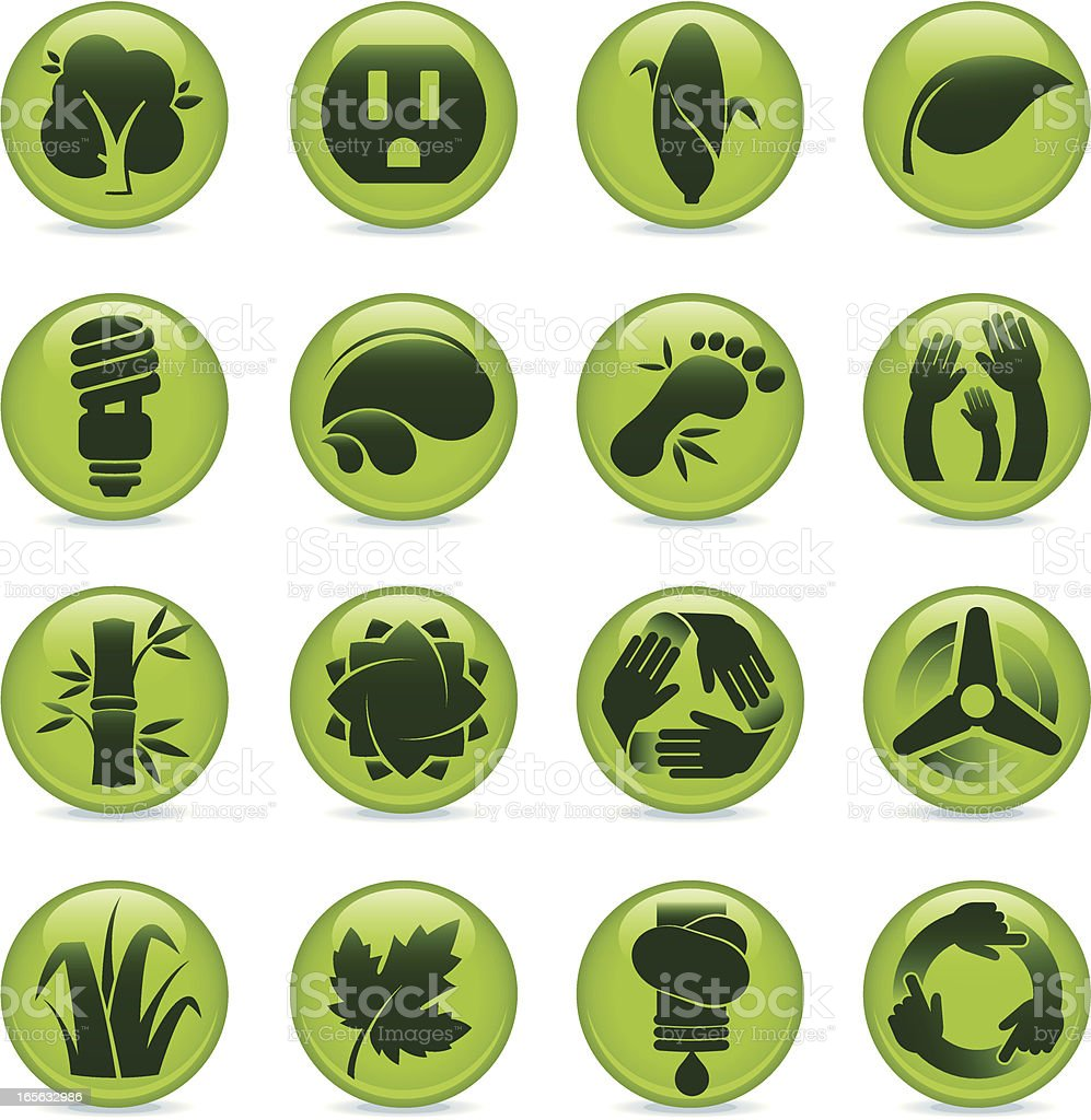 Environmental Conservation Buttons royalty-free stock vector art