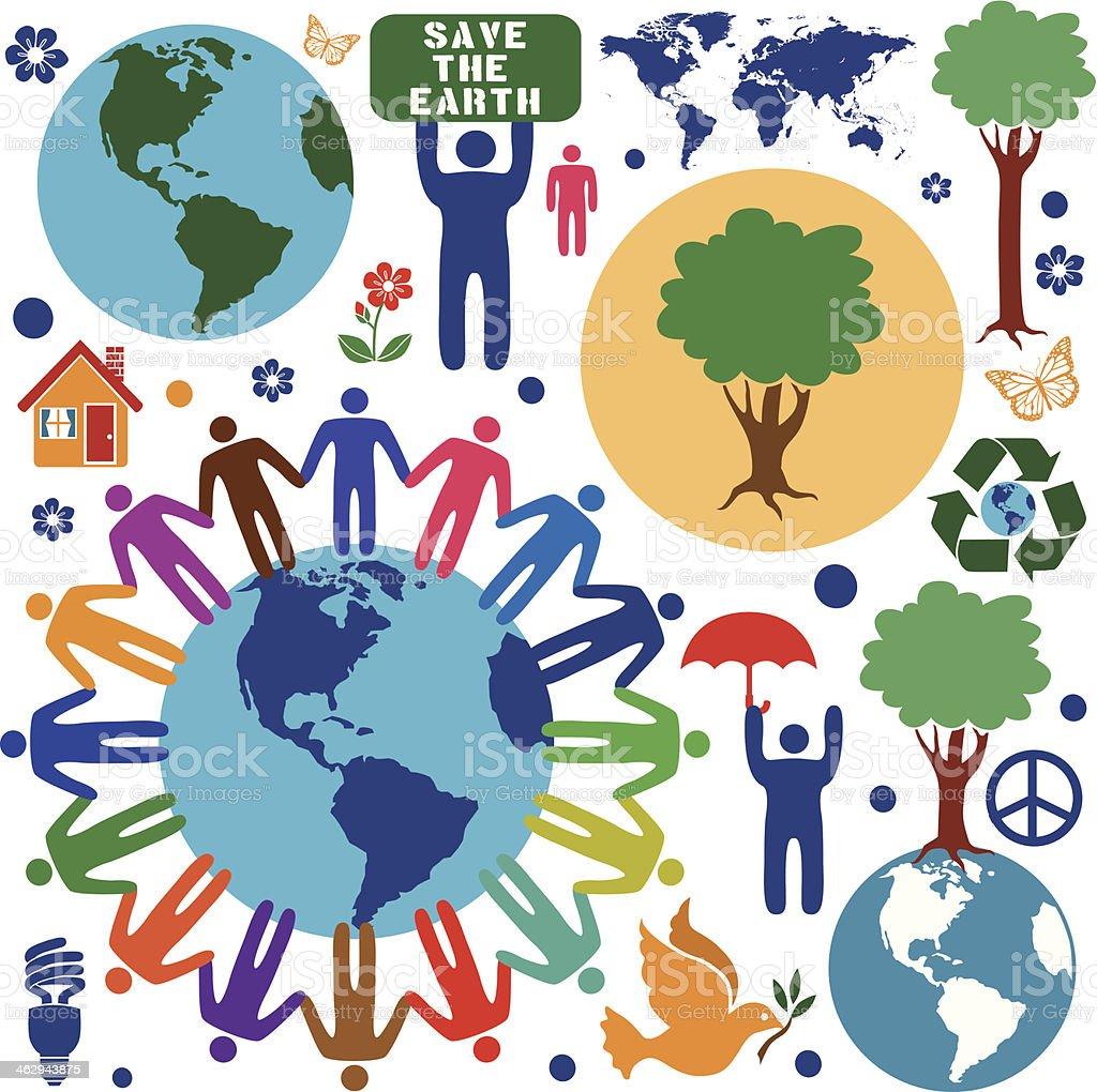 A vector illustration of environmental conservation design elements.