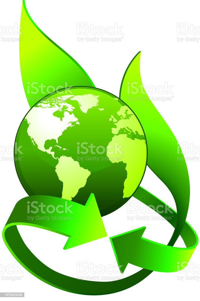 Environmental Conservation green world map glove and arrows symbol royalty-free stock vector art