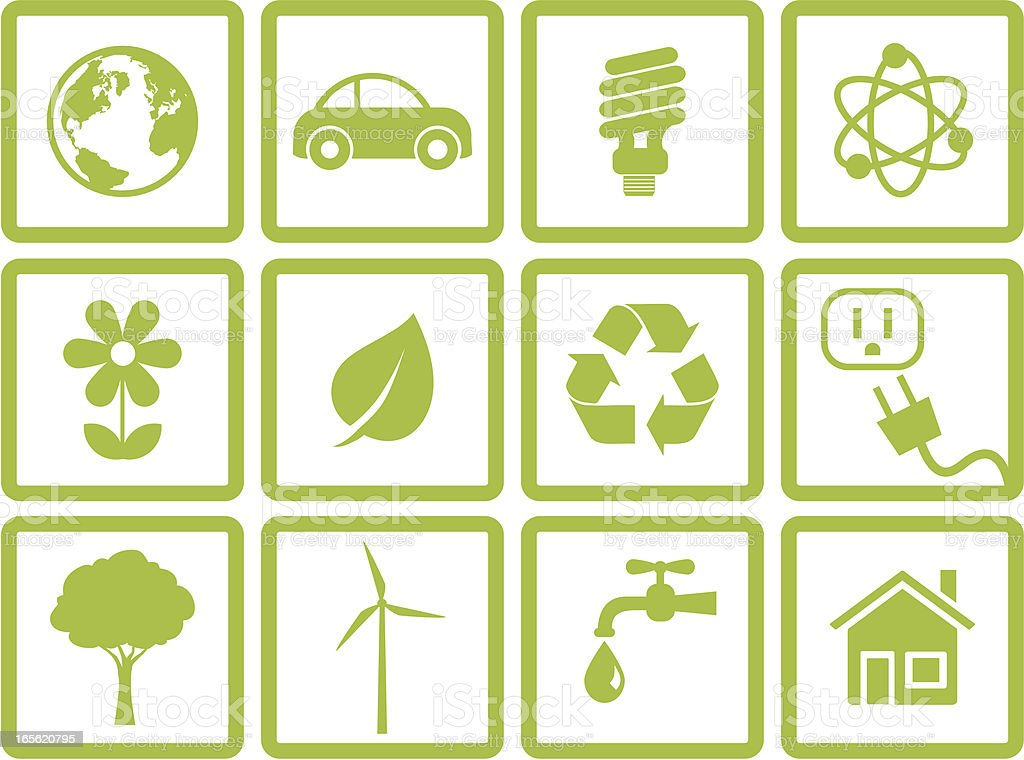Environmental Conservation Icon Set royalty-free stock vector art