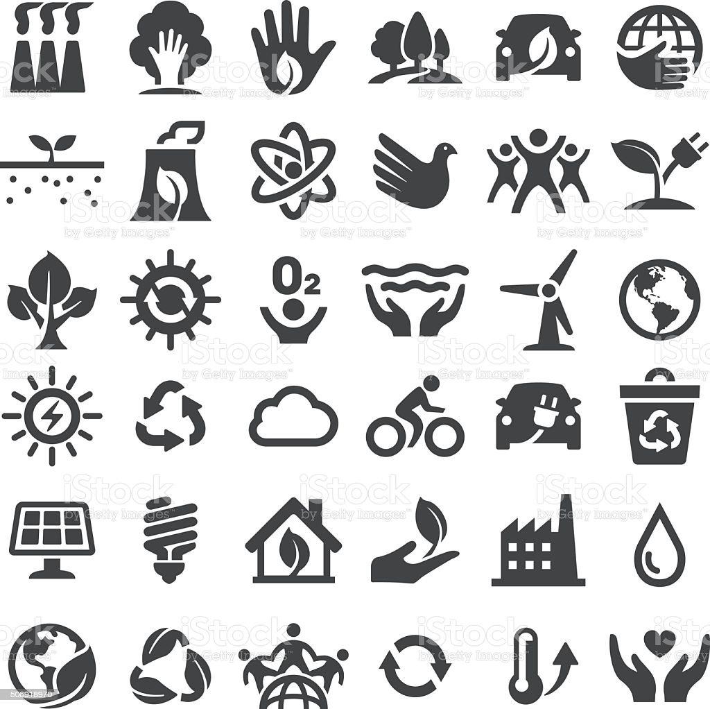 Conservação ambiental ícones-grande série - ilustração de arte em vetor