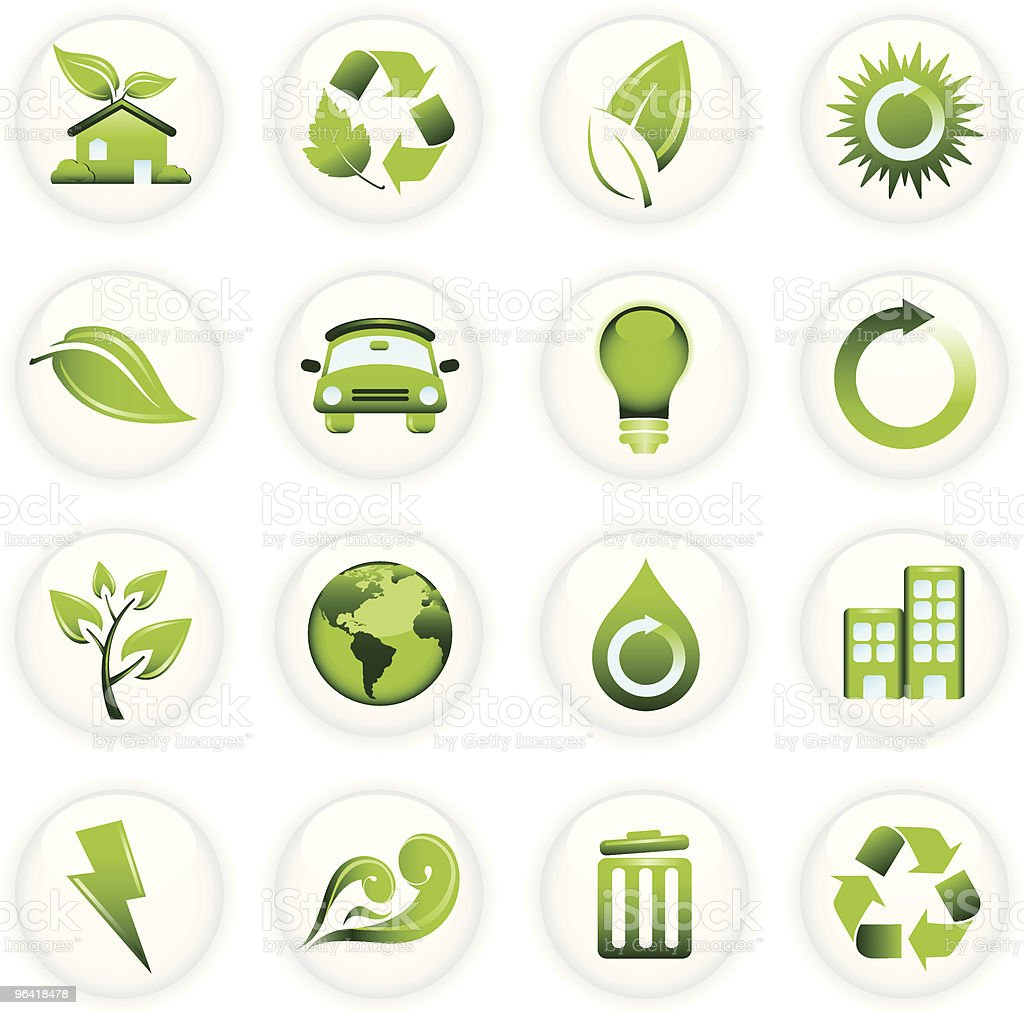 Environmental Conservation Icons on White Buttons royalty-free stock vector art