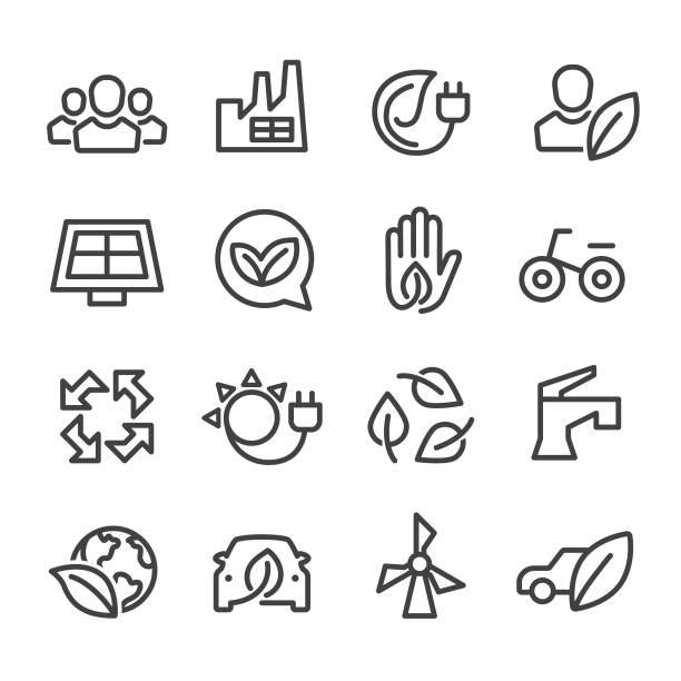 stockillustraties, clipart, cartoons en iconen met milieubehoud icons set - line serie - herbebossing